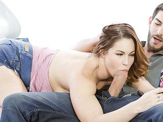 Teen slut Edyn Blair sucks a big hard dick while texting.